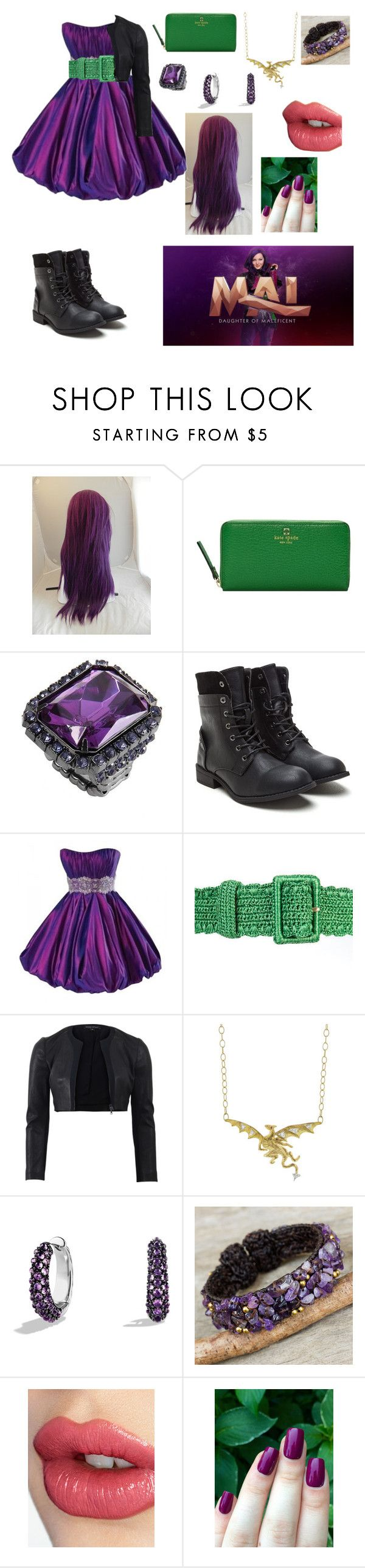 """""""Dedication to Mal from Descendants"""" by gandur-melanie ❤ liked on Polyvore featuring Disney, Kate Spade, Maggie Sottero, Dolce&Gabbana, Narciso Rodriguez, David Yurman, NOVICA and Charlotte Tilbury"""