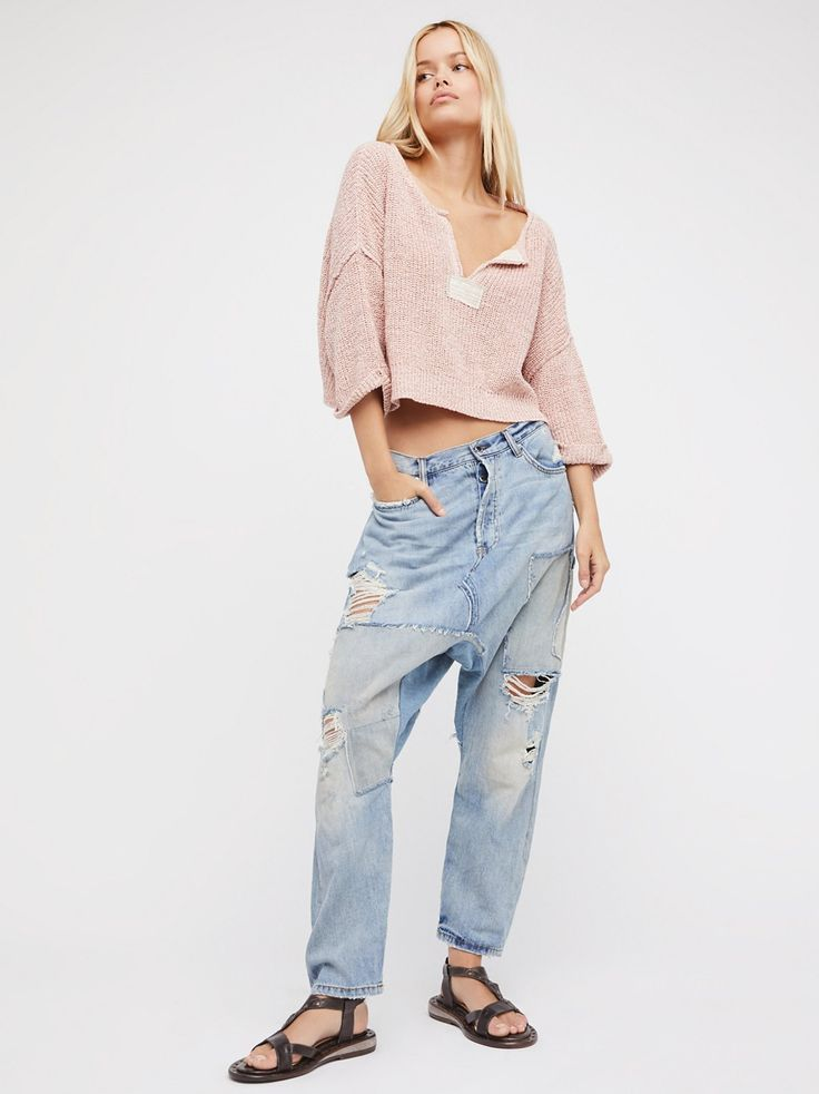 Blazing Summer Harem Jeans | Slouchy harem style jeans featuring denim patchwork detailing and a embroidered bird in back.    * Authentic ridged denim   * Mid-rise   * Five-pocket style   * Button fly