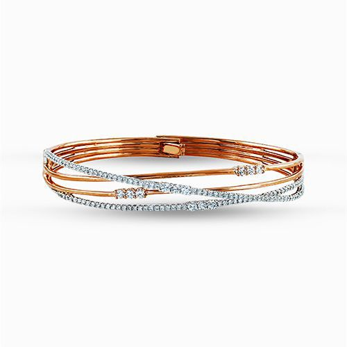 Rose gold bangle bracelet with diamonds - Simon G's Fabled Collection