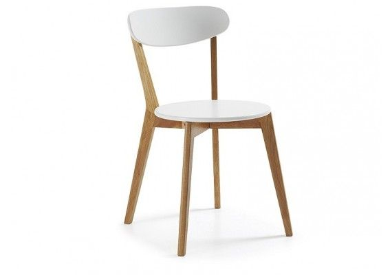 Oferta silla Luana en blanco y madera de roble en estilo nordico para cocina y comedor, Julia Group, precio, venta on line, sillas de comedor baratas, escandinavo