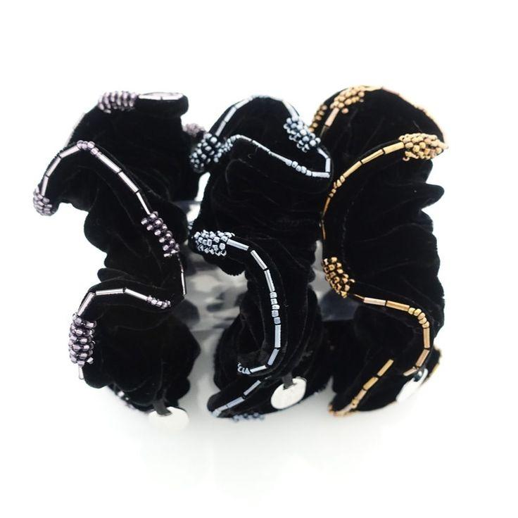 Beaded Trim Luxury Silk Velvet Hair Elastic Black Scrunchies  #VeryShine #Scrunchies #velvetscrunchies #silkvelvet #scrunchies