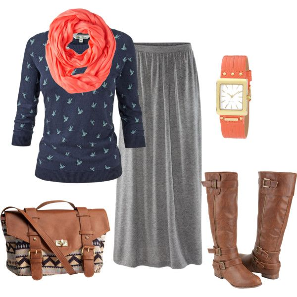 """""""Pop o' Peach Fall Outfit"""" by amber-moore-1 on Polyvore"""