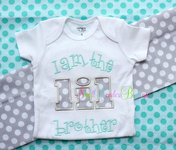 I Am The LIL Brother Embroidered Shirt  Sibling by smallwonders00, $22.00