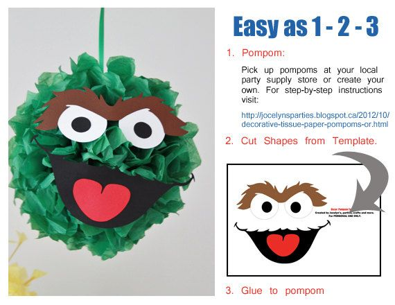 Sesame Street Party - Birthday - DIY Sesame Street Pompoms via Etsy