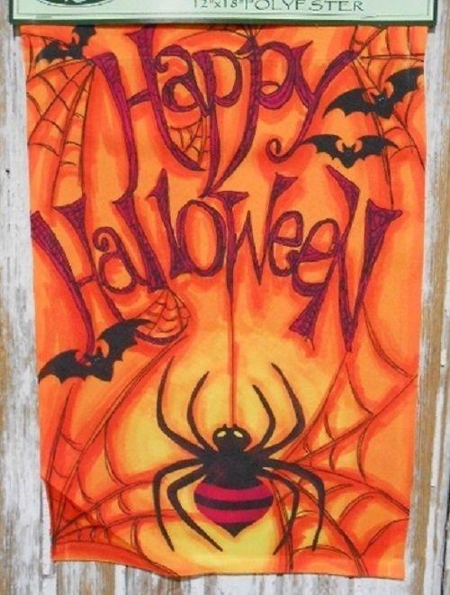 Country Primitive Spider U0026 Bats Garden Flag Happy Halloween Orange