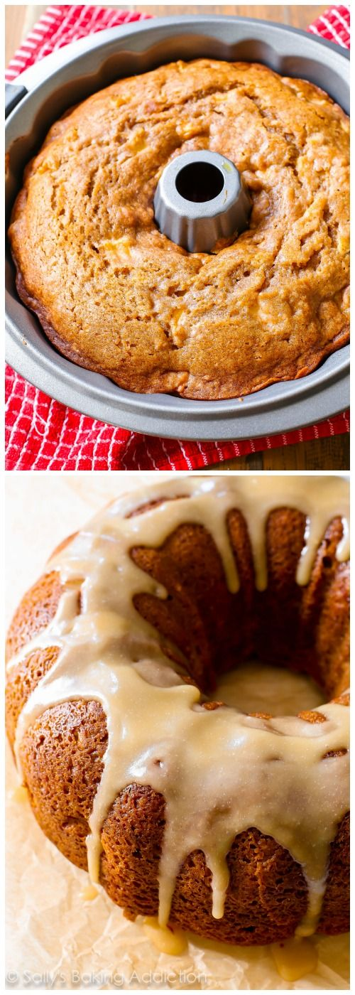 Glazed Apple Bundt Cake by sallysbakingaddiction.com. Tender and moist homemade apple bundt cake smothered in a buttery brown sugar glaze.