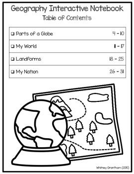 FREE Geography Interactive Notebook (1st Grade)