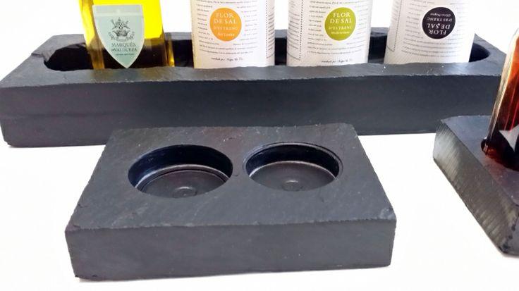 Nuevos #soportes para mono dosis de #aceite y #vinagre tanto en botellitas de cristal como en cápsulas. Se pueden personalizar al gusto del consumidor.los encontrarás en www.platosypizarras.com