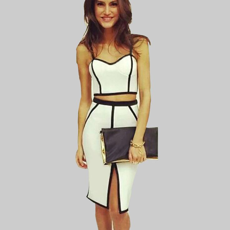 Summer Style Women Two Piece Outfits Plus Size White Sexy Club Dress 2015 Hot Crop Top