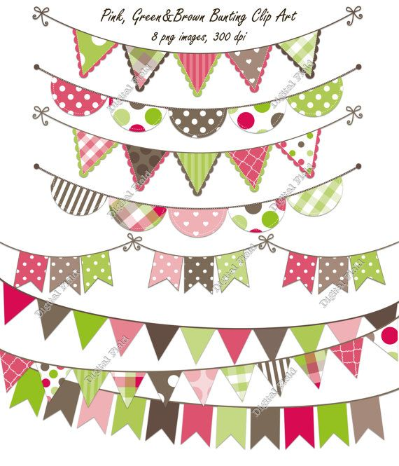 INSTANT DOWNLOAD Pink, Green & Brown Bunting Clip Art Set - printable digital clipart