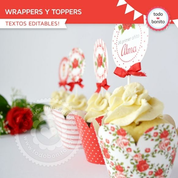 Shabby Chic Rojo: wrappers y toppers
