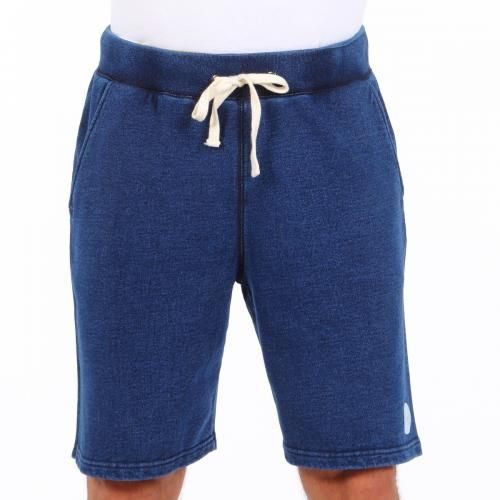 DENIM EFFECT COTTON FLEECE BERMUDA SHORTS Denim effect cotton fleece Bermuda shorts with two front pockets and a single back pocket. Saturdays Surf NYC label stitched on front. Elastic waistband and cotton thread drawstring. COMPOSITION: 100% COTTON. Model wears size L, he is 189 cm tall and weighs 86 Kg.