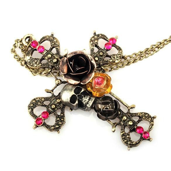 Vintage Glam Punk/Gothic Cross Pendant with Skull & Roses