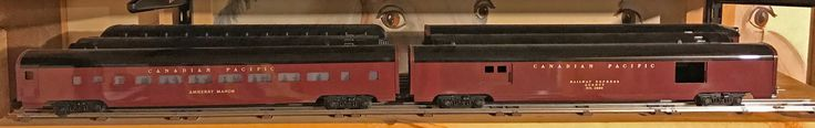"""Canadian Pacific smooth-sides. These are some of the 21"""" passenger cars that need the 72"""" radius curves and switches I am using exclusively."""