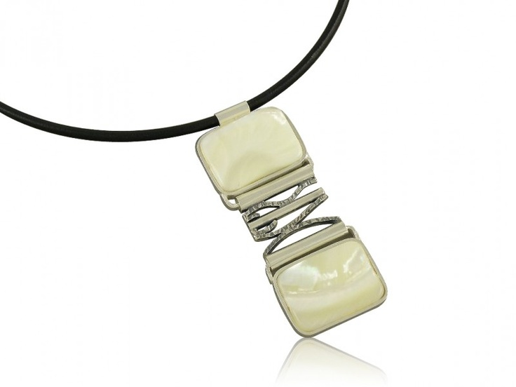 Silver art - handmade necklace with mother of pearl