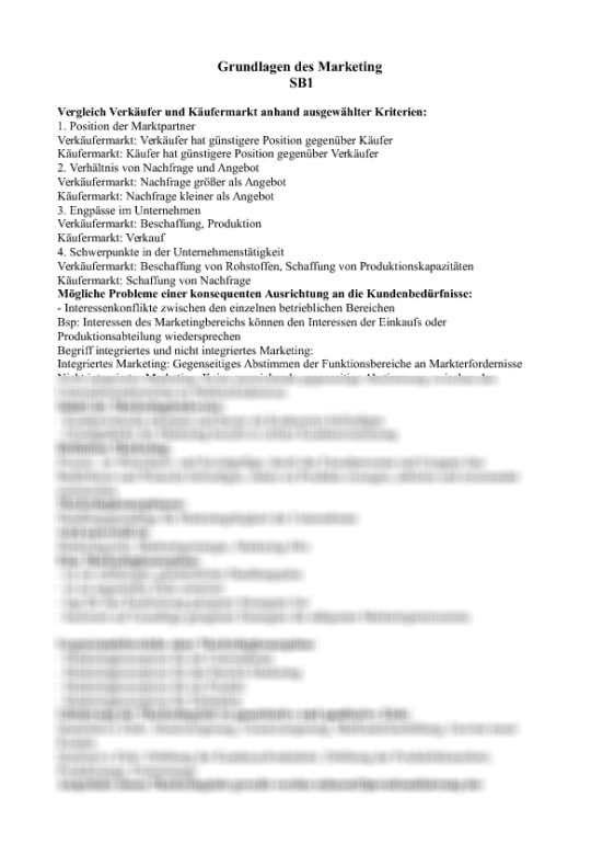 Zusammenfassung Hfh Grundlagen Des Marketing Unterscheidung Der