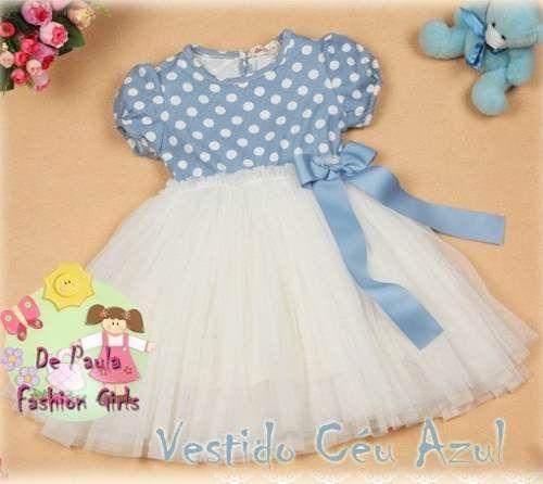 Vestido Céu Azul Tutu Branco Tamanhos De 1 A 6 Anos
