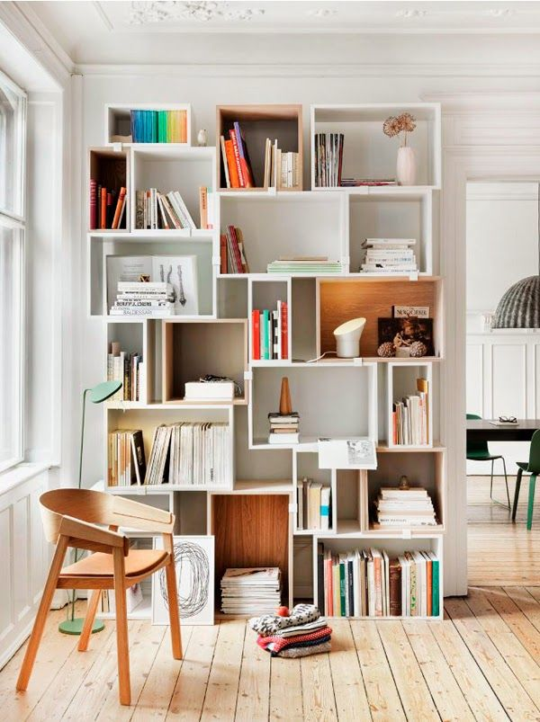 | Stacked shelving system by Muuto