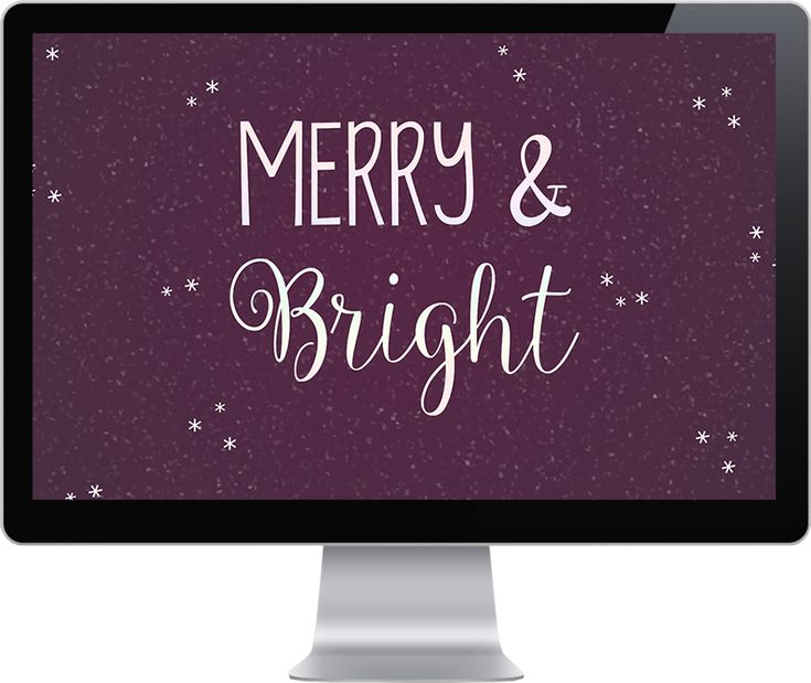 """Freebie #4: Desktop Wallpaper a free festive Christmas desktop wallpaper with the words """"Merry & Bright"""" available for download"""