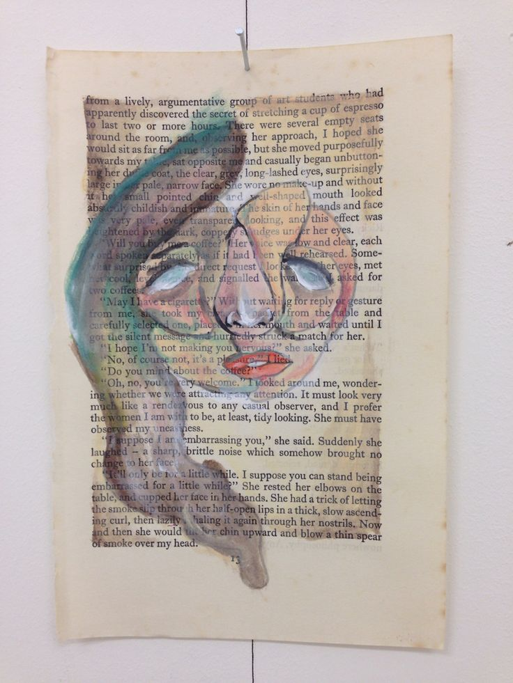 Acrylic painting on book page~By Tori Timmings.