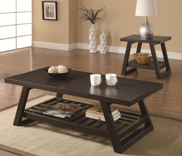 Asian inspired coffee & end table set finished in cappuccino offers style & function with an open design on the bottom shelf.