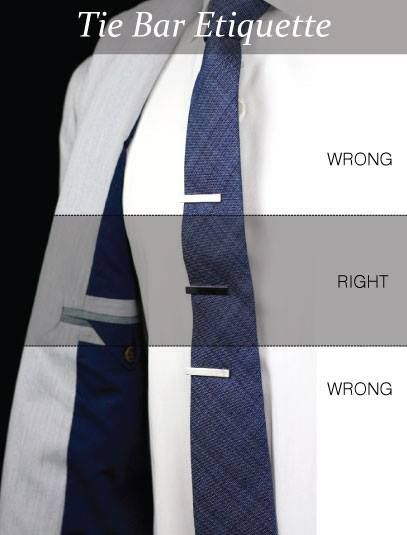 Quick tip: There is both a right and wrong way to wear a tie bar: Tie Bar and Tie Clips Should be Worn Between the 3rd and 4th Buttons on Your Shirt.