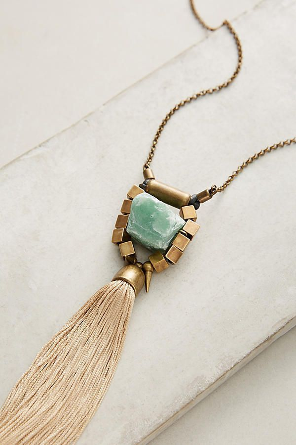 NEW Anthropologie Isometric Tassel Necklace Green Fluorite by Mimi Scholer  NWT
