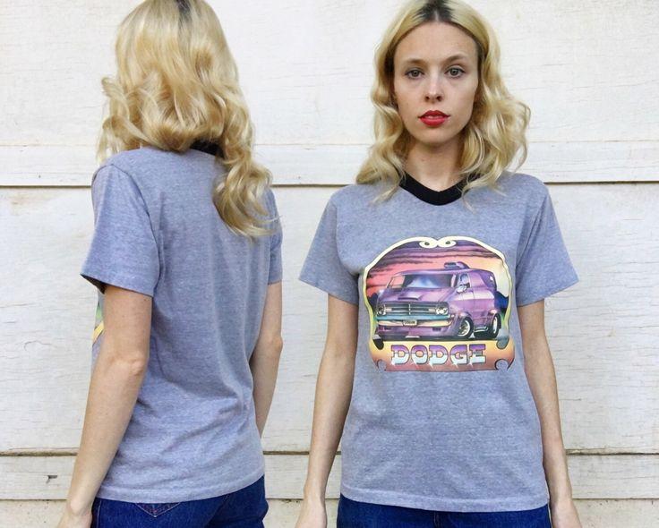 Vintage 1970s Dodge Van Iron On Grey + Black Mutlicolor Roach Graphic Tee T-shirt S/M by vernasvintageATL on Etsy https://www.etsy.com/listing/470683946/vintage-1970s-dodge-van-iron-on-grey