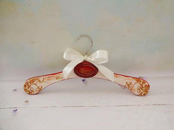 Vintage Bridal Hanger Wedding Gown Hanger Decoupage Hanger