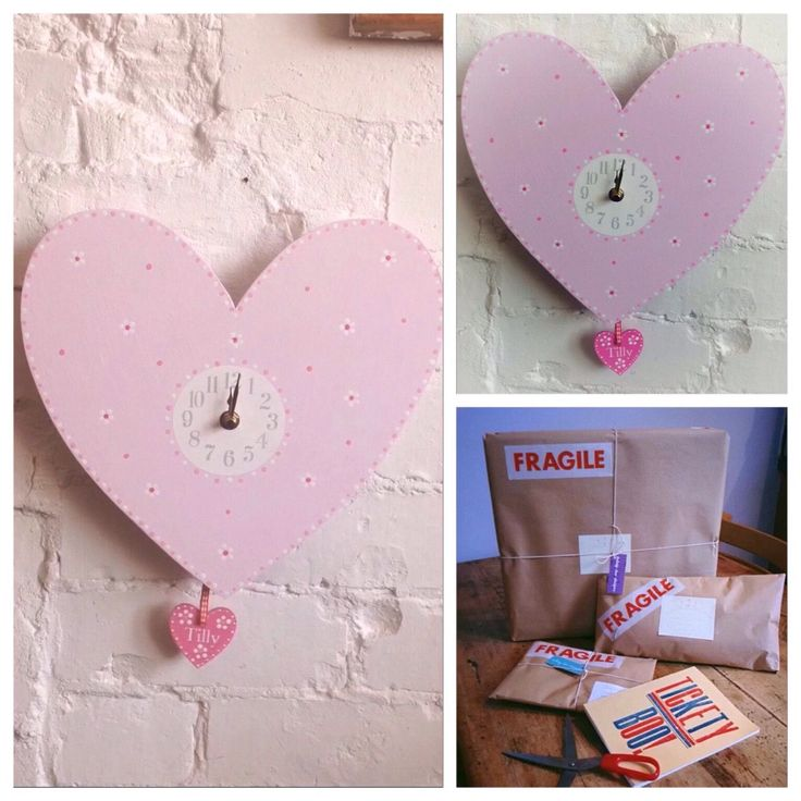 Excited to share the latest addition to my #etsy shop: Beautifully handmade personalised children's clock heart with swinging heart Christening gift idea godparent gift nursery clock heart clock #housewares #homedecor #pink #birthday #bedroom #girlswallclock #easter #newbabygift #nurserywallclock