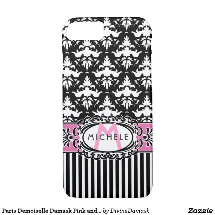 Paris Demoiselle Damask Pink and Black iPhone 7 Case