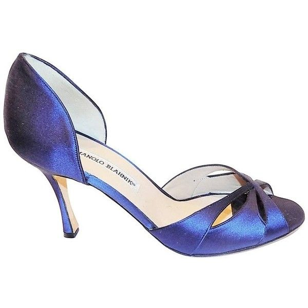 Preowned Manolo Blahnik Navy/ Cobalt Blue Satin Sandals Shoes New Sz... ($175) ❤ liked on Polyvore featuring shoes, sandals, blue, navy shoes, cobalt blue shoes, blue high heel shoes, navy high heel sandals and navy satin shoes
