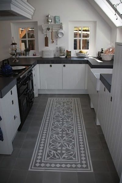 Tapis partir de carreaux ciment cuisine pinterest for Tapis cuisine vinyl