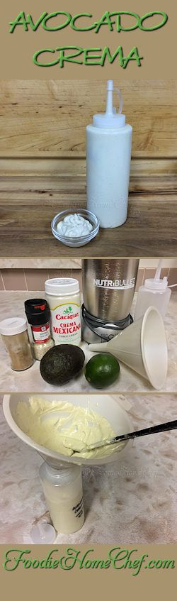 Avocado Crema - The question is what can't you use this condiment on? It's so great as a topping/garnish on all Mexican Dishes like Tacos, Chili, Burritos, Huevos Rancheros & so on. I also love it on scrambled eggs, it gives them a scrumptious creaminess!