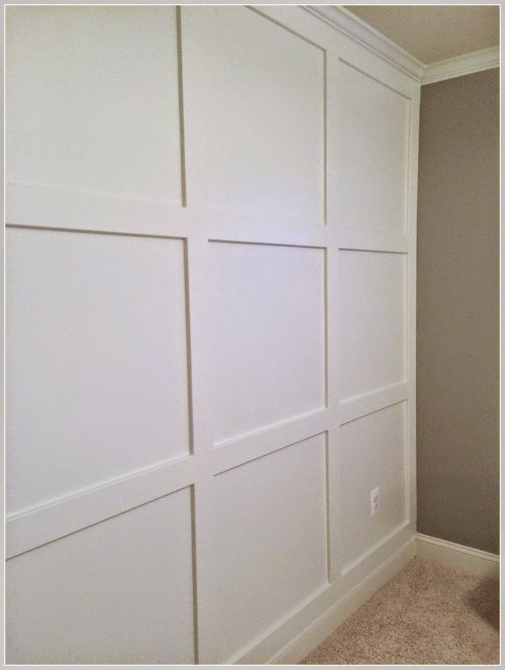 Diy square molding accent wall with crown happily island for Decorative millwork accents