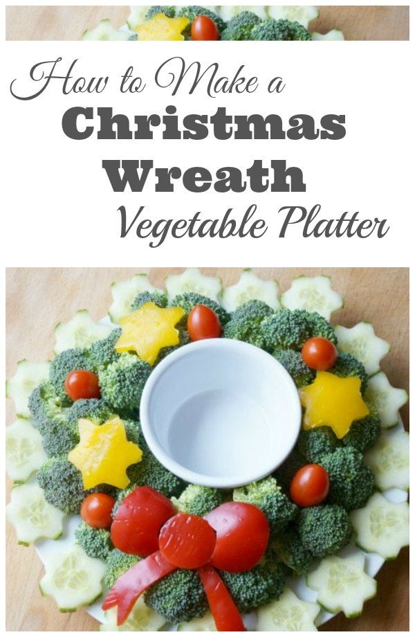 How to Make a Christmas Wreath Vegetable Platter - Bring this beautiful vegetable tray with dip to your next holiday party and impress everyone! It's so easy to put together. | Christmas Recipe | Christmas Vegetable Recipe | Appetizer Recipe | Vegetable Platter |