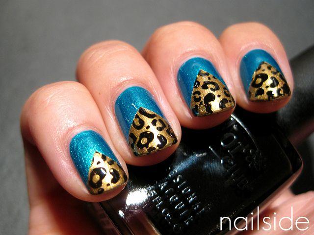 leopard chevrons: Nails Art, Color Combos, Leopards Chevron, Solid Color, Nails Ideas, Leopards Nails Design, Leopards Prints, Blue Nails, Chevron Nails
