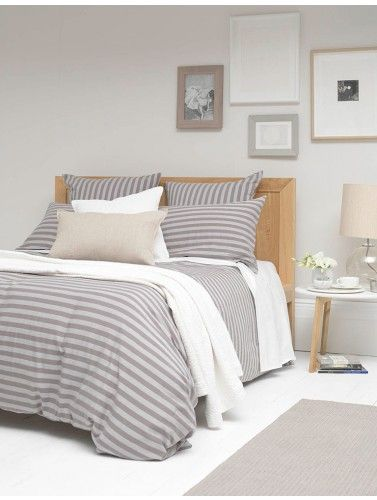 Scandi bedroom styling. Our Percale Stripe Grey bed linen is super soft,