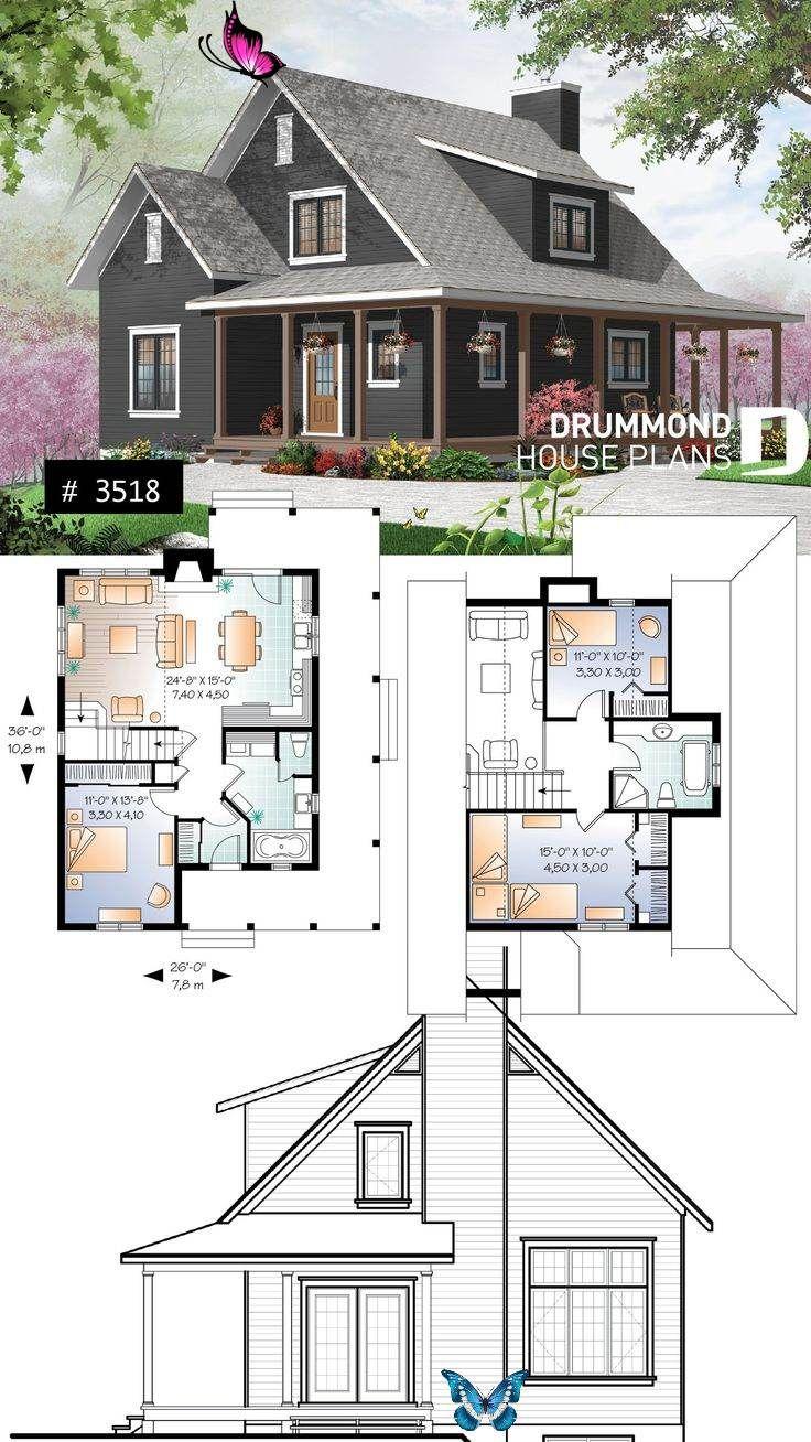 Open Floor Plan Beautiful Farmhouse Cottage House Plan With Wrapar Br Boerderij Ontwerp Open Plattegrond Frans Landhuis