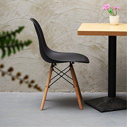 Set di 4 Eames DSW sedie da pranzo ,Eggree Eiffel sedie con gambe in faggio massiccio, per sala da pranzo cucina,Nero: Amazon.it: Casa e cucina