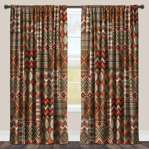 """Add warmth to your home with Laural Home's """"Country Mood Navajo"""" room darkening window panel! The fun, intricate patterns and earth tones will create a cozy fee"""