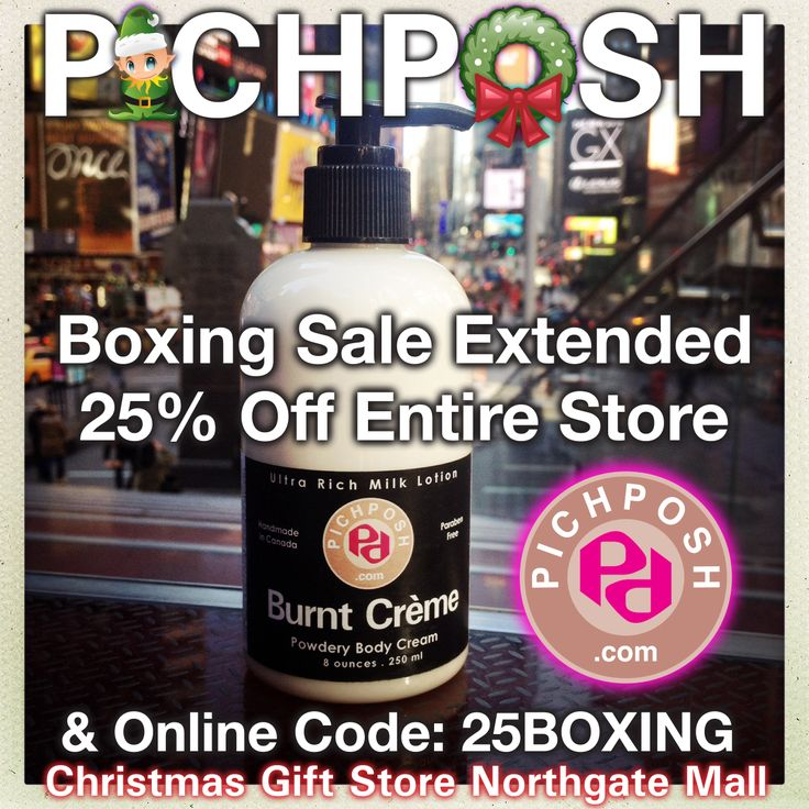 Boxing Sale Extended for Today (Friday) - 25 percent off everything !!!  Then special sale pricing until December 31, 2013. Website orders as well. PICHPOSH  Christmas Gift Store - Northgate Mall Regina Saskatchewan ★★★New Location★★★ Down from the Target Mall Entrance.  #boxingdaysale #northgatemall #regina #bathandbody #shopping #pichposh