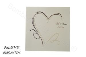 25th / silver Wedding anniversary invitation (also available in gold - 51494) Gold foiled, pretty and economical printed p#party #invitaion http://www.bombonierashop.com/en/department/11/Gold-and-Silver-Wedding-Anniversary-Favours.html