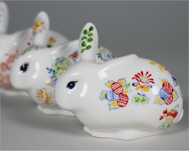 Ręcznie malowany królik świętokrzyski Hand painted porcelain rabbit
