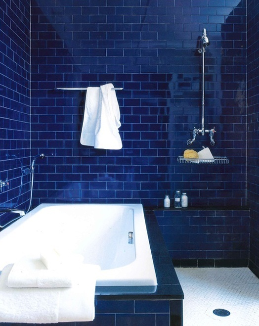 blue tile Handmade tiles can be colour coordinated and customized re. shape, texture, pattern, etc. by ceramic design studios