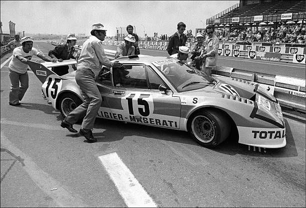 Matra wins '24 heures du Mans' 1974 for the 3rd time in Le Mans, France on June 16, 1974 - Ligier JS 2 - Maserati, Jacques Laffite, Alain Serpaggi.