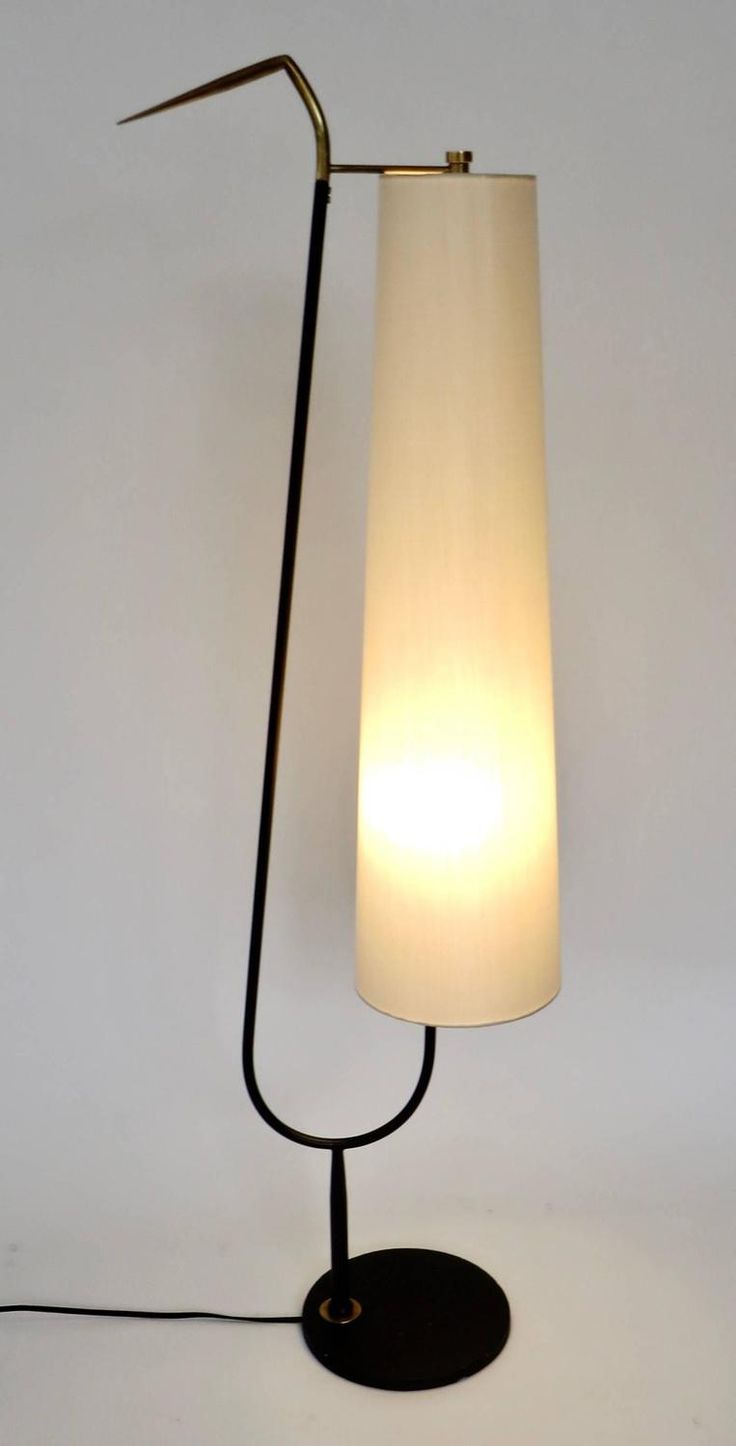 maison lunel french standing floor lamp with cream linen shade 1950s