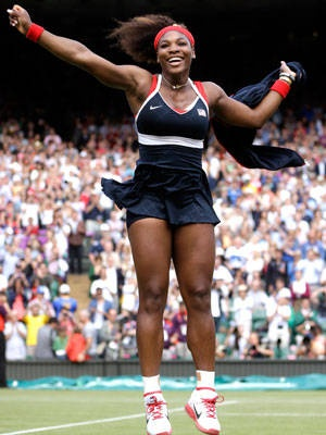 United States' Serena Williams celebrates after defeating Maria Sharapova to win the women's singles gold medal match.