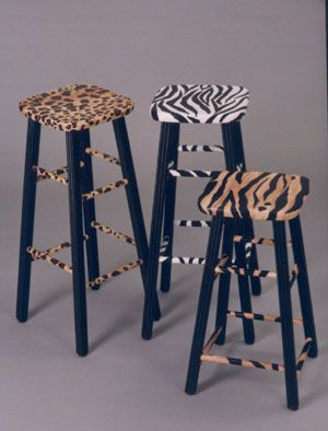 Funky Painted Furniture - Painted some bar stools like these, but painted the legs in a zebra stripe.