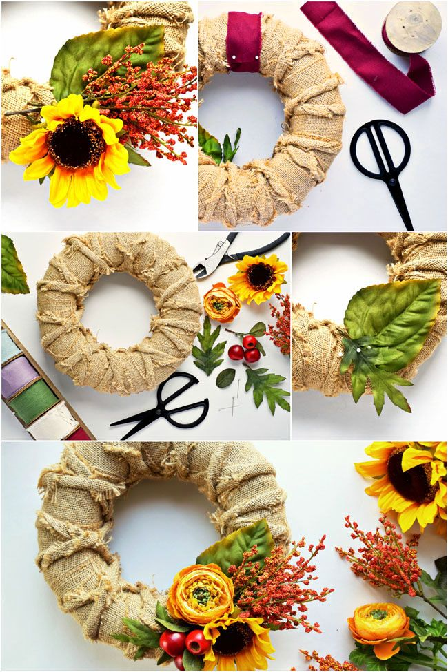 This DIY Burlap & Floral Fall Wreath is easy and fast to make! A pretty decor addition for fall.